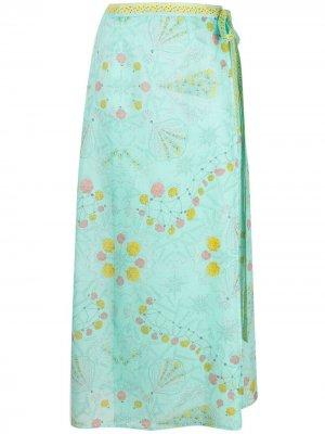 Пляжная юбка миди с принтом Conchiglie Emilio Pucci. Цвет: синий