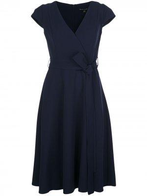 Платье с запахом и V-образным вырезом Black Halo. Цвет: синий