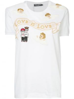 Футболка Love is Dolce & Gabbana. Цвет: белый