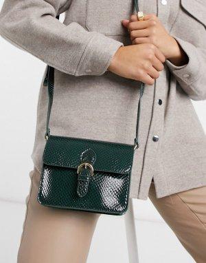 Зеленая сумка-портфель со змеиным узором -Зеленый цвет ASOS DESIGN