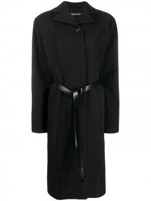 Пальто оверсайз с поясом Kwaidan Editions. Цвет: черный