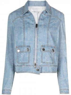 Джинсовая куртка на молнии с логотипом Giambattista Valli. Цвет: синий