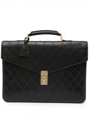 Стеганый портфель 1992-го года Chanel Pre-Owned. Цвет: черный