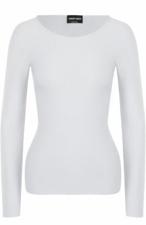 Облегающий пуловер с круглым вырезом Giorgio Armani. Цвет: светло-серый