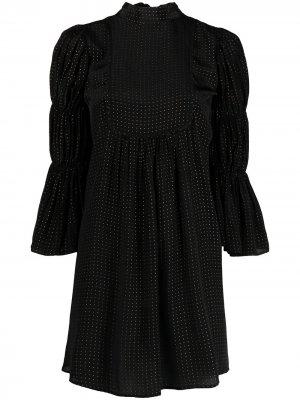 Платье-трапеция в мелкую точку byTiMo. Цвет: черный