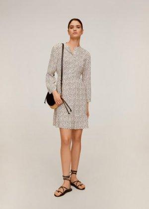 Короткое платье с принтом - Luni Mango. Цвет: грязно-белый