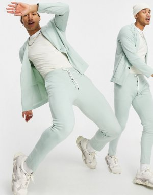 Супероблегающие классические брюки из мягкого трикотажа мятно-зеленого цвета -Зеленый цвет ASOS DESIGN