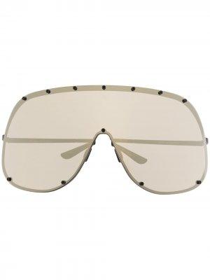 Массивные зеркальные солнцезащитные очки Rick Owens. Цвет: черный