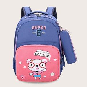 Рюкзак с мультяшным принтом и пеналом для девочек SHEIN. Цвет: многоцветный