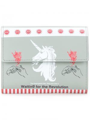 Бумажник с принтом единорога Undercover. Цвет: серый