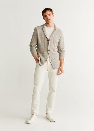 Трикотажный пиджак лен и хлопок - Llanes Mango. Цвет: песочный
