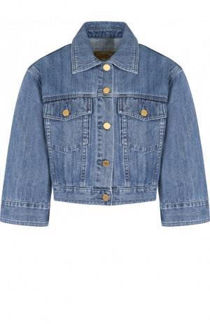 Укороченная джинсовая куртка с потертостями MICHAEL Kors. Цвет: голубой
