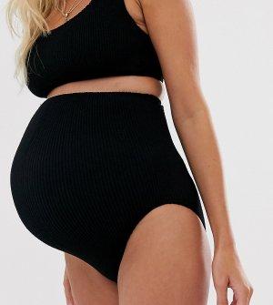 Черные плавки бикини из жатой ткани с завышенной талией ASOS DESIGN maternity-Черный Maternity
