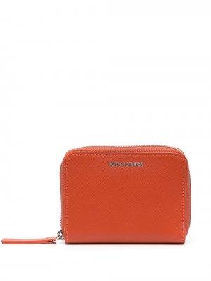 Кошелек с круговой молнией и логотипом Dsquared2. Цвет: оранжевый