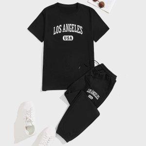 Мужской с текстовым принтом Футболка & на кулиске Спортивные брюки SHEIN. Цвет: чёрный