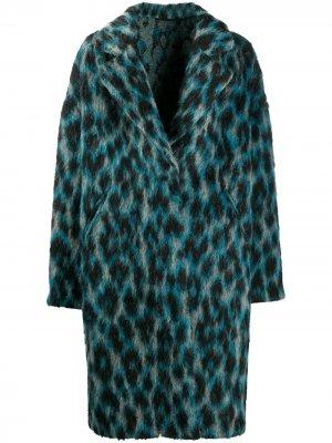 Пальто Alberta с леопардовым принтом Golden Goose. Цвет: синий