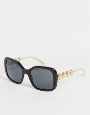 Женские большие солнцезащитные очки в черной квадратной оправе 0VE4375-Черный цвет Versace
