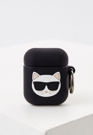 Чехол для наушников Karl Lagerfeld Airpods, Choupette Silicone case with ring Black. Цвет: черный