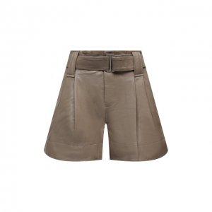 Кожаные шорты Ganni. Цвет: коричневый