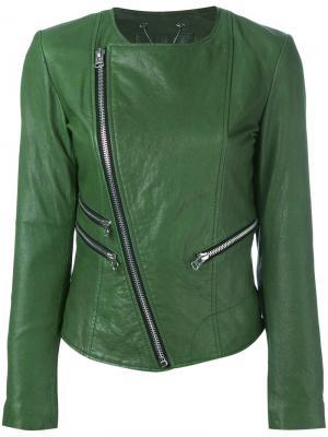 Кожаная куртка с молниями Twin-Set. Цвет: зелёный