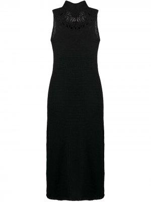 Вязаное платье с бахромой сзади Yohji Yamamoto. Цвет: черный