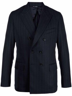 Двубортный пиджак в тонкую полоску Reveres 1949. Цвет: синий