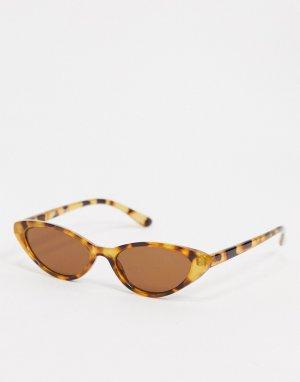 Коричневые солнцезащитные очки с черепаховым рисунком -Коричневый Monki