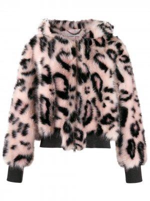 Бомбер с леопардовым принтом Stella McCartney. Цвет: черный