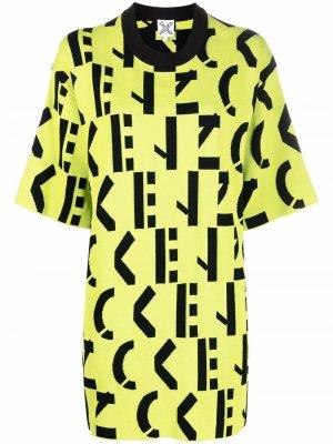 Monogram-patterned T-shirt dress Kenzo. Цвет: зеленый