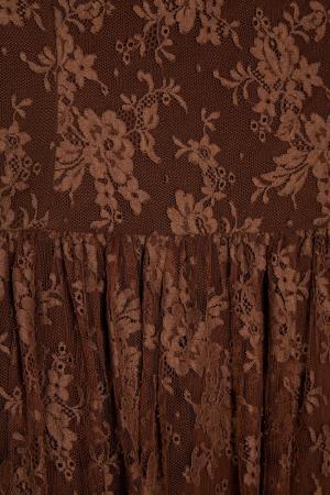 Гипюровое платье (1990-е) Louis Feraud Vintage. Цвет: коричневый
