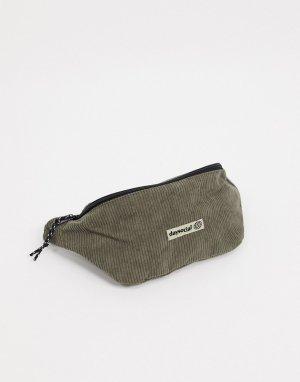 Вельветовая сумка-кошелек на пояс цвета хаки ASOS Daysocial-Зеленый цвет DESIGN