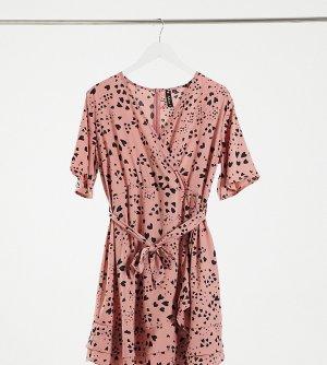 Розовое платье мини с запахом спереди и принтом в виде сердечек -Мульти Influence Maternity