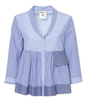 Блуза Y7PF04 42 белый+синий SEMI-COUTURE. Цвет: белый+синий
