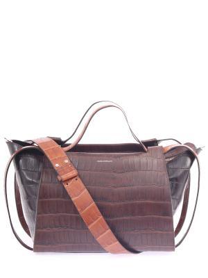 Кожаная сумка-тоут Elena Ghisellini. Цвет: коричневый