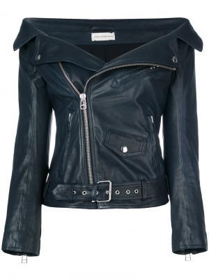Кожаная куртка с открытыми плечами Faith Connexion. Цвет: синий
