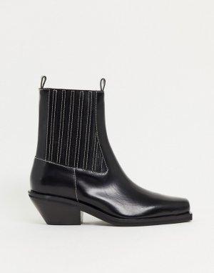 Черные кожаные полусапожки premium-Черный цвет ASOS DESIGN