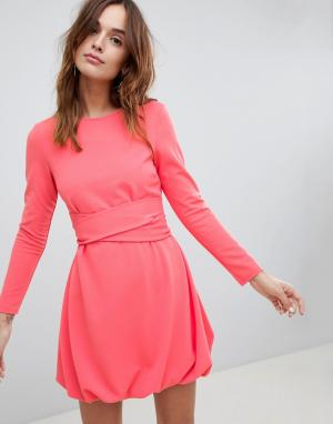 Приталенное платье мини с объемным подолом и поясом в несколько оборотов ASOS DESIGN