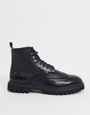 Черные ботинки-броги из искусственной кожи -Черный ASOS DESIGN