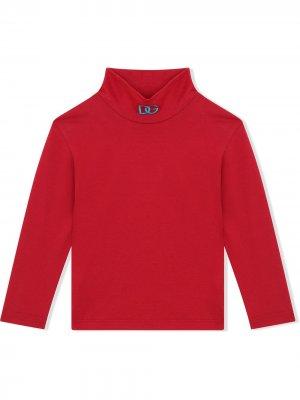 Топ с высоким воротником и вышитым логотипом Dolce & Gabbana Kids. Цвет: красный