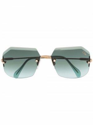 Солнцезащитные очки в безободковой оправе Cazal. Цвет: зеленый