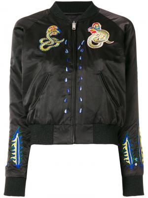 Куртка-бомбер с нашивками Diesel. Цвет: черный