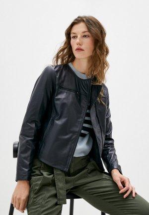Куртка кожаная Max&Co NOTO. Цвет: синий