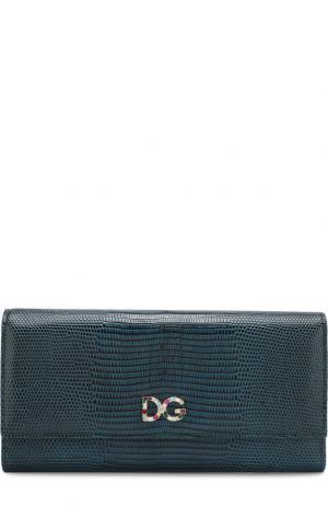 Кожаный кошелек с клапаном Dolce & Gabbana. Цвет: зеленый