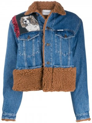 Джинсовая куртка со вставками из шерпы Forte Dei Marmi Couture. Цвет: синий
