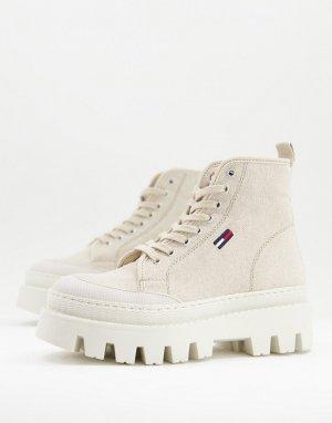 Бежевые ботинки на шнуровке с логотипом в виде флага -Светло-бежевый цвет Tommy Jeans