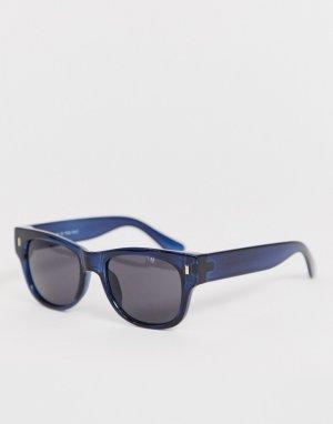 Квадратные солнцезащитные очки в темно-синей оправе -Темно-синий AJ Morgan