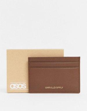 Коричневая кожаная кредитница с тисненым названием бренда -Коричневый ASOS Unrvlld Supply
