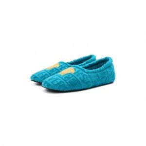 Текстильные слиперы Versace. Цвет: синий