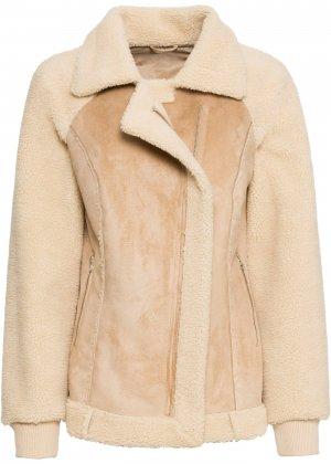 Куртка-косуха с плюшевой отделкой bonprix. Цвет: бежевый