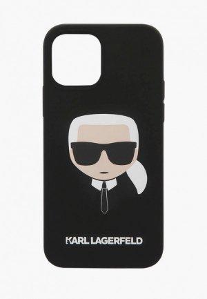 Чехол для iPhone Karl Lagerfeld 12/12 Pro (6.1), Liquid silicone Karls Head Black. Цвет: черный